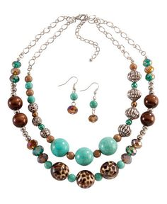 Multi Strand Faux Turquoise & Animal Print Necklace & Earring Set