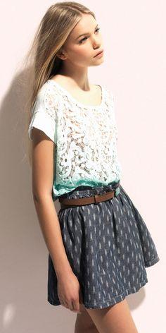 print skirt & lace
