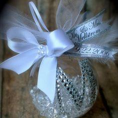 diamond mesh on clear ornament ball