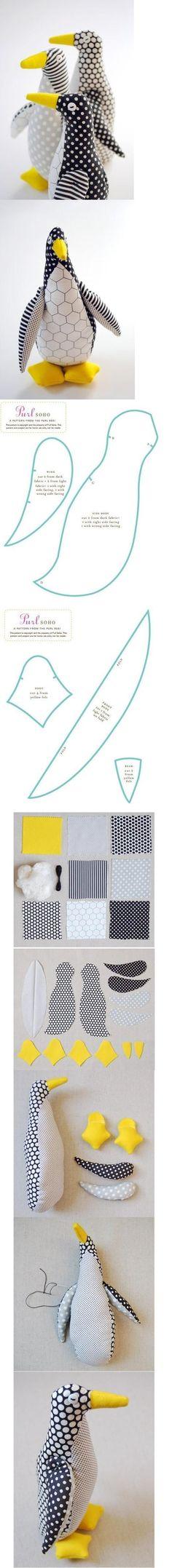DIY Fabric Penguin ~ Tutorial here::