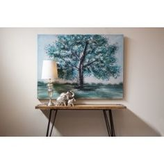 http://www.nuryba.com/ Cuadro Moderno Decorativo Azul Árbol I, lienzo pintura al óleo