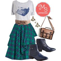 In this outfit: Elegant and Intelligent Skirt in Tartan, Write Your Bestseller Tee, Sash Samba Belt, Point of Attention Earrings, Cottage Visit Bag, Sanctuary Bootie #plaid #graphictee #cute #casual #booties #fall #outfits #ModCloth #ModStylist #fashion