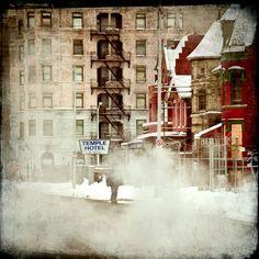 """16x16 - Surreal Fine Art, Detroit landscape, cityscape, winter color photography """"Temple Hotel"""""""