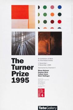 Timeline of Tate Britain's Turner Prize history from 1984 to present Composition, Turner Prize, Tate Britain, Damien Hirst, Promotional Design, Cultural Events, Art Themes, Brand Identity Design, Typography Design