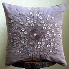 11% Holiday Sale - Violet Light - 16x16 Inches Throw Pillow Covers - Silk Pillow Cover with Sequins & Beads Embroidery