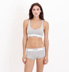 Calvin Klein Modern Cotton Bralette Bra - Grey heather - True & Co