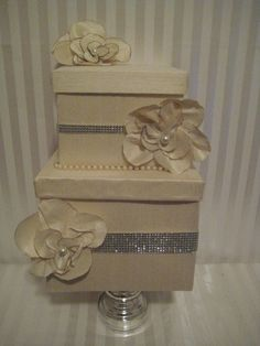 Wedding card box, but with roses and pearls .... Frame a pic on top too!