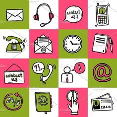 Contact us sketch icons set. Doodle