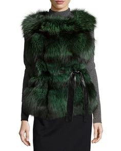 Fox Fur Belted Vest, Lime by Gorski at Neiman Marcus.