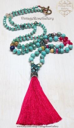 Bohemian Silk Tassel Necklace,  #VintageRoseGallery #etsy Colourful BohoTassel Necklace, Turquoise - Hot Pink by VintageRoseGallery