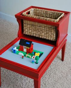 DIY LEGO Table. I see these all the time at the thrift shop!  Mom-I found a use for that table that's in the way!!!! @Helen Palmer Palmer Palmer Palmer Palmer Loggins