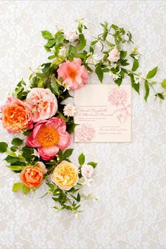 peach pink coral bridal flowers wreath wedding stationery brides of adelaide magazine