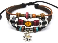 Jewelry Bangle Bracelet Cuff Made of Brown Leather Ropes and Color Beads Adjustable Men Bracelet Women Bracelet B0226
