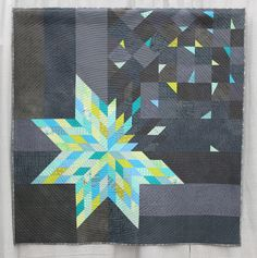 """Quilting Ideas Place, Modern Traditionalism: """"Deconstructed Lone Star"""" quilt by Amy Struckmeyer Star Quilts, Mini Quilts, Quilting Tips, Quilting Projects, Quilting Fabric, Quilt Display, Traditional Quilts, Modern Traditional, Art Textile"""