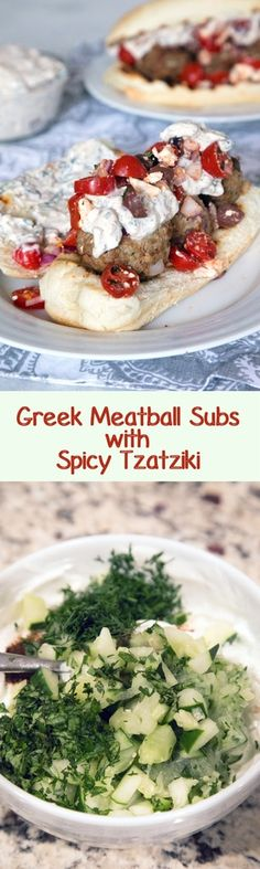 Greek Meatball Subs with Spicy Tzatziki -- These meatball subs will satisfy all of your Greek food cravings. The lamb meatballs are packed with kalamata olives, red onion, feta cheese, and mint and the spicy tzatziki has the perfect kick   wearenotmartha.com