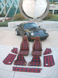 porsche 911 interior tartan Love the tartan seats. Car Seat Upholstery, Car Interior Upholstery, Automotive Upholstery, Porsche 911, Porsche Truck, Vw Bus, Volkswagen, Porsche Modelos, Jetta Mk1