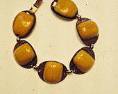 Kay Denning Bracelet Vtg Ceramic Copper Butterscotch Links