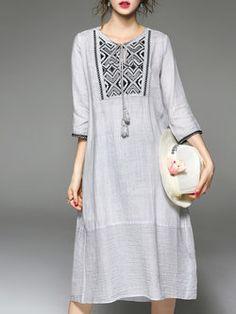 Gray Printed 3/4 Sleeve Midi Dress