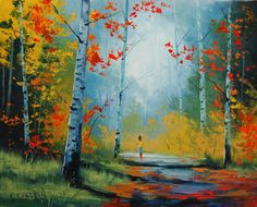 Autumn Landscape With Figure by artsaus.deviantart.com on @deviantART