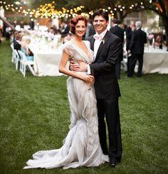 Taylor Tomasi on her wedding day in J.Mendel