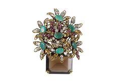 Iradj Moini jardinniere brooch - emeralds, rubies and topaz