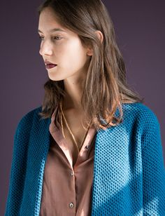 WOLFEN GERMANY /  CARDIGAN / STRICKJACKE / PETROL BLUE / KNITTED FROM LAMBSWOOL / http://wolfengermany.com