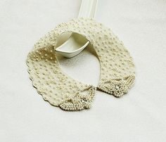 New Pearl Embroidered Collar Necklace Biege  Lace by aynurdereli, $34.90