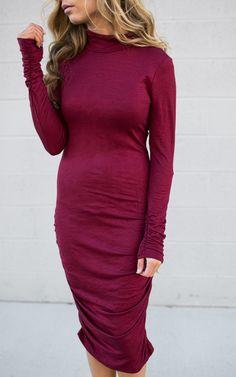 Turtle Neck Burgundy Dress