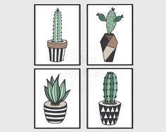 Cactus prints, succulents, wall art, wall decor, art, cactus print set, cactuses, cacti, cactus printable, cactus plant, set of 4, 5x7 by AdornMyWall on Etsy