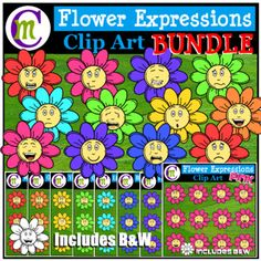 Flower Feelings Clipart BUNDLEThese flower expressions clips are sure to liven up any spring or Easter-themed worksheet, activity, newsletter, or printable. This is a bundle of  8 Flower Emotion Clip Art sets. There are 12 emotions depicted, each in 8 different colors plus a white-filled blackline of each emoji clip for a total of 108 images in this bundle . . .