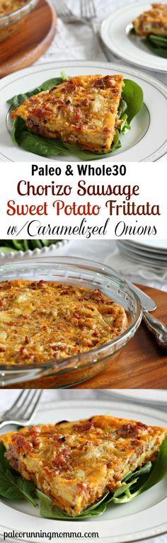 Chorizo Sausage Sweet Potato Frittata with Caramelized Onions #paleo #whole30