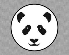 Panda Face Cross Stitch Pattern by StitchingWithRetta on Etsy