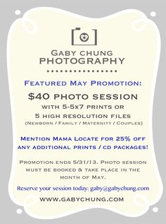 Mention Mama Locate and you will receive 25% off any additional prints/CD packages  https://www.facebook.com/pages/Gaby-Chung-Photography/145525138821323  #mothersday #photography #familyportraits #family #mamalocate #orangecounty #oc #photosession #gabychungphotography