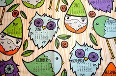 2013 tea towel fabric calendar / gnomes owls little by jesiiii, $25.00