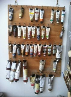 Simple paint tubes storage -- you can see every color & they're not taking up any desk space #DIY