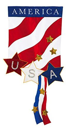 Garden Applique Patriotic America Flag 18X015X125 Inches -- Click image to review more details.  This link participates in Amazon Service LLC Associates Program, a program designed to let participant earn advertising fees by advertising and linking to Amazon.com.