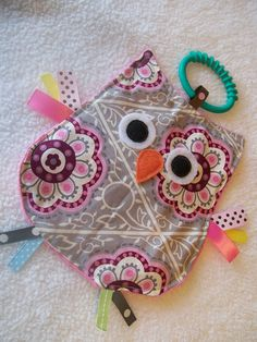 Crinkle Crackle Taggie Sensory owl Baby Toy by MBDesigns on Etsy, $8.50