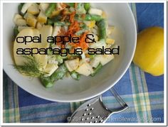 P2 & P2 Vegetarian Apple Fennel Asparagus Salad - Pair the Opal apple with spring vegetables for a unique salad! Asparagus, fennel and carrots coated in a yogurt-dill dressing are a perfect fit for the crisp, sweet Opal apple.