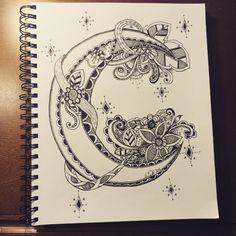 Cool moon doodle art