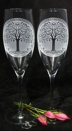 Celtic Tree of Life Champagne Glasses, Irish Wedding Gifts for Couple