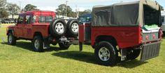 //Land Rover Defender 130 TD5 with custom 130 camper trailer