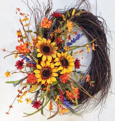 etsy-CrookedTreeCreation by Sherry Harman of Westerville, OH: Sunflower Wreath Fall Wreath Sunflowers $119.99