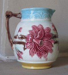 Victorian Majolica Starflower Pitcher by MagnificentMajolica, $125.00