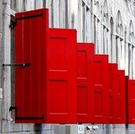 red shutters black hardware #powdercoating