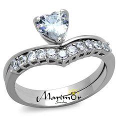Stainless Steel 1.07 Ct Heart Shape Zirconia Wedding Ring Set Women's Size 5-10