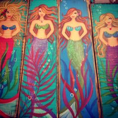 Hand painted mermaid plaques by Kathy Denk $25