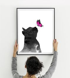 Cat watercolor print Cat with butterfly Cat playing Cat profile Nursery decor Cat large poster Kids room decor Cat lovers Instant download Creative Gifts, Creative Ideas, Cat Profile, Nursery Decor, Room Decor, Family Wall Decor, Personalized Gifts For Her, Watercolor Cat, Baby Prints