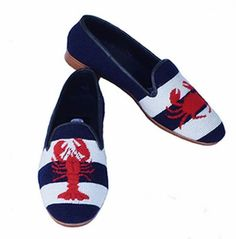 Classic needlepoint shoes for women featuring a red lobster and crab on a navy and white stripe background. Brand: By Paige. needlepoint, Hand stitched, fully lined in leather, high end loafers, designed in USA. Clogs Shoes, Loafer Shoes, Needlepoint Belts, Fashion Shoes, Mens Fashion, Fashion Dresses, Striped Background, Loafers For Women, Beautiful Shoes