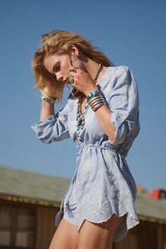spell, gypsy, boho, bohemian, casablanca, romper, chambray, broderie, anglaise, floral, cut-out, playsuit, scalloped