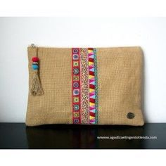 Clutch with ribbons Handmade Handbags, Handmade Bags, Diy Pochette, Embroidery Bags, Sack Bag, Jute Bags, Boho Bags, Fabric Bags, Cloth Bags
